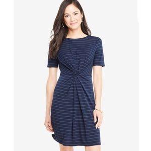 NWOT Ann Taylor Pinstripe Striped Knot front Dress
